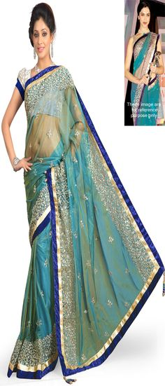 Deepika Podukone in ContemporaryTeal Blue Net Saree-IG5050 at IndianGarb