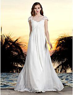 Lanting Bride® Sheath / Column Petite / Plus Sizes Wedding Dress - Classic
