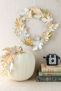 "Tutorial Fall Leaf wreath made out of paper leaves with templates for leaves. Elegant ""no carve"" pumpkin decorating ideas for Thanksgiving"