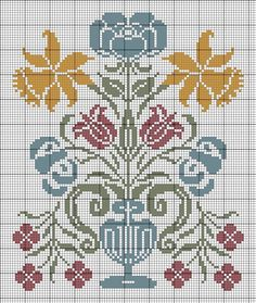 Point de croix - I think I would change some of the colors since I am not a blue person. Cross Stitch Fruit, Cross Stitch Love, Cross Stitch Samplers, Cross Stitch Flowers, Cross Stitch Charts, Cross Stitch Designs, Cross Stitching, Cross Stitch Embroidery, Embroidery Patterns