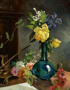 Arturo Michelena Still Life with Yellow Roses 1894