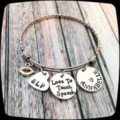 SLP Jewelry Gift, SLP Bangle Bracelet, Speech Therapy Staff, Speech Therapist, Rehab Professional Jewelry Bracelet, Language Therapy Gift