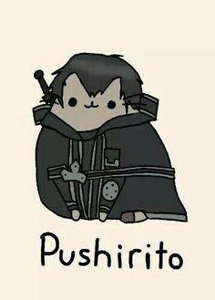 Pushirito, text, Pusheen, Kirito, Sword Art Online, crossover, cute; Pusheen