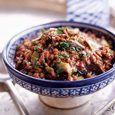 Eggplant and Lentil Stew with Pomegranate Molasses Recipe on Food & Wine. I didn't have all the pomegranate molasses it called for, so I subbed a concentrate black cherry (no sugar added). Wine Recipes, Cooking Recipes, Pea Recipes, Vegetable Recipes, Soup Recipes, Molasses Recipes, Turkish Recipes, Ethnic Recipes, Pomegranate Molasses