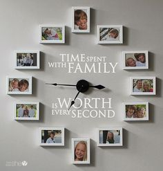 How to Create a Photo Frame Wall Clock - Time Spent with Family is Worth Every Second. Creating a picture frame clock is actually pretty simple once you know the secret. This beautiful clock comes with a fully functional clock and the vinyl lettering. Picture Frame Clock, Picture Frame Display, Display Family Photos, Family Pictures, Clock Pic, Diy Clock, Clock Decor, Wall Decor, Clock Wall