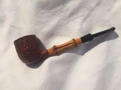 Rare 1976 Sixten Ivarsson Billiard, Sandblast Pipe with Two-Knuckle Bamboo Stem