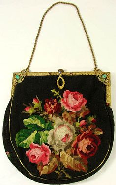 Vintage 30s Petit Point Needlepoint Roses Purse