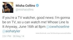 Mark your calendars! ! June 16th!!!  (OH MY GOD THEY PUT CW ACTORS ON THAT SHOW ALL THE TIME AND IVE BEEN WAITING SO LONG FOR MISHA TO BE ON IT)