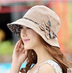 Wide brim bow bucket hat for women UV summer wear
