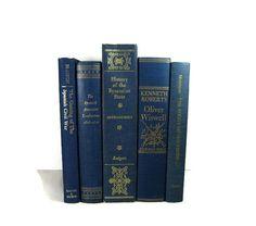 Vintage Blue Decorative Books , Photo Props , Vintage Wedding Decor
