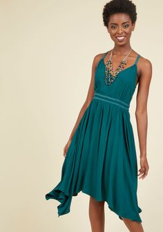 Jack by BB Dakota Boho Ballerina A-Line Dress | Mod Retro Vintage Dresses | ModCloth.com You know exactly how to flaunt your free-spirited personality - by donning this teal dress for a one-woman dance show! As you pirouette and plie, the V-neckline, faux-suede accents, and handkerchief hem of this racerback from Jack by BB Dakota emphasize your on-beat artistry.