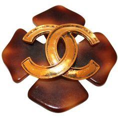 Chanel tortoise shell brooch