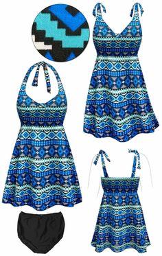 Customizable Blue Geometric Print Halter or Shoulder Strap 2pc Plus Size Swimsuit/SwimDress 0x 1x 2x 3x 4x 5x 6x 7x 8x 9x