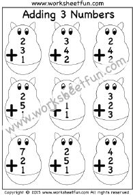 Adding 3 Numbers – Five Worksheets
