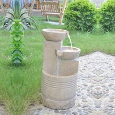 Small Solar Powered Water Feature Sandstone 2 Bowl Cascade Waterfall PC124