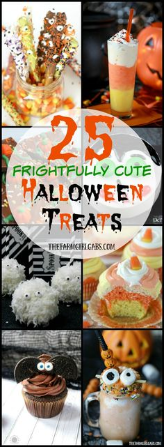 25 Frightfully Cute Halloween Treats you can make for your next Halloween party. These fun recipes will scare up a lot of Halloween fun.