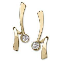 14kt Gold Wrap Around Gemstone Earrings
