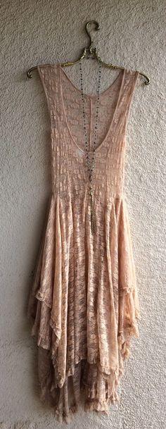 Image of Free People apricot rose ruffle lace gypsy Stevie Nicks maxi dress
