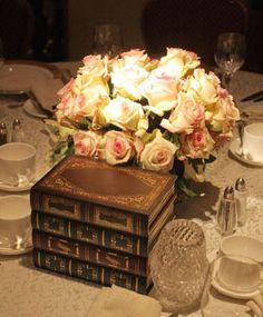 Wedding centerpiece with books