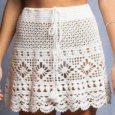 Crochet Skirt Pattern, Crochet Skirts, Crochet Clothes, Crochet Patterns, Filet Crochet, Crochet Doilies, Crochet Crafts, Love Crochet, Crochet Top