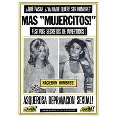 """""""Mujercitos"""". Eecopilación gráfica de cómo el tabloide mexicano """"Alarma"""" abordó el tema transgénero y travesti entre 1960 y 1980. Se consigue en la librería Rosario Castellanos."""