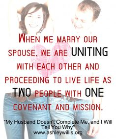 """We have all heard the quote, """"You complete me"""".  Seems dreamy, right?  But, is this what we want for our marriages?  Read more by clicking on the pic."""