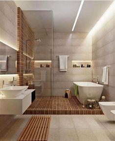 horizontal elements diy bathroom decor Great Minimalist Modern Bathroom Ideas - Home of Pondo - Home Design Modern Bathroom Design, Bathroom Interior Design, Modern Bathrooms, Small Bathrooms, Small Bathroom Layout, Small Bathroom Tiles, Small Bathtub, Rustic Bathrooms, Dream Bathrooms