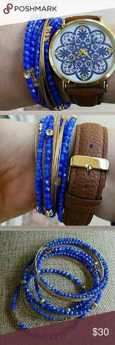 Seasonal Whispers Bangle Bracelets Very pretty blue and gold beaded bracelets with crystals! Size medium, my wrist is 6inches! Seasonal Whispers Jewelry Bracelets