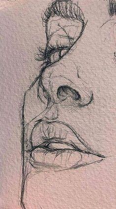 Art Drawings Sketches Simple, Pencil Art Drawings, Easy Drawings, Sketches Of Faces, Drawings Of Faces, Beautiful Pencil Sketches, Pencil Drawings For Beginners, Beautiful Drawings, Gustav Klimt