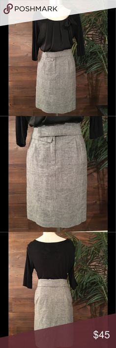 Cordelia Skirt Grey and black print block fold over skirt with front zipper entry Anthropologie Skirts