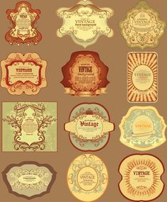 vintage stickers download freebie #digital #scrap #elements