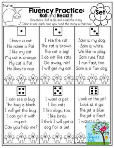 FLUENCY PRACTICE! Roll a die and read a simple sentence made of sight words and CVC words! Color a star each time you read it! FUN ! Tons of other great printables!: