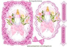 New baby Girl bottle and bows on card lace topper on Craftsuprint - Add To Basket!
