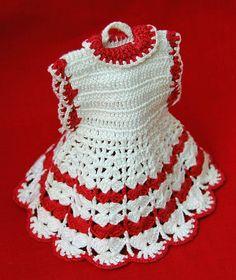 Vintage CROCHET Pot Holder Red and White Dress / Pot by hensnest10