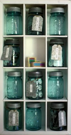 Organize your cupboard with mason jars - #Upcycle This! 16 Ways to Reuse Mason Jars