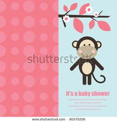 stock vector : baby shower card with cute monkey. vector illustration