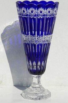"Ajka Cobalt Blue Cased Cut to Clear Hungarian Lead Crystal Vase 15 8"" | eBay"