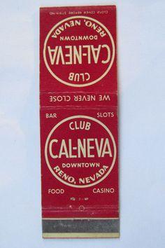 Club Cal-Neva Reno Nevada Casino Bar Restaurant 20 Strike Matchbook Cover Indian