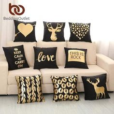 Bronzing Cushion Cover Gold Printed Black and White Pillow Cover Decorative Pill. : Bronzing Cushion Cover Gold Printed Black and White Pillow Cover Decorative Pillow Case Sofa Golden Pillowcases : White Cushion Covers, Cushion Cover Designs, Black And White Pillows, White Cushions, Black White And Gold Bedroom, Black Gold, Best Pillows For Sleeping, Christmas Cushions, Living Room Pillows