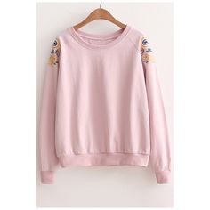 Women's Embroidery Floral Raglan Long Sleeve Round Neck Pullover... ($28) ❤ liked on Polyvore featuring tops, hoodies, sweatshirts, long sleeve tops, long sweatshirt, long sleeve pullover, long sleeve sweatshirts and sweater pullover