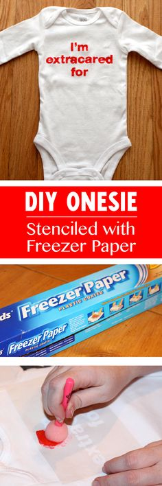 DIY Stenciled Onesie- How to create a freezer paper iron on stencil with Silhouette Cameo and fabric paint.