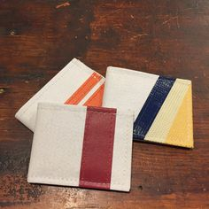New wallets from recycled tarp from football domes and super bowl banners. Assorted styles.