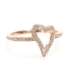 Cada Rose Gold & Diamond Heart Ring