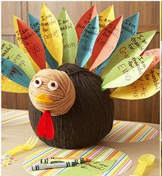Thankful Turkey; I love this turkey because you can reuse the body each year but add new feathers and look at old feathers from previous years.