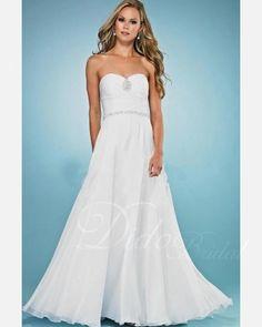 Chiffon Sweep Train Strapless A-line Wedding Dress.  $163.52