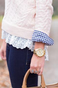 A Southern Drawl: Lace Hem Sweater