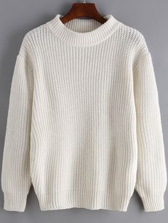 Stylish White Round Neck Long Sleeve Loose Sweater - Fitting Women's Knitwear Sweaters & Cardigans | shein.com