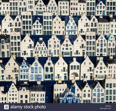 Amsterdam a display of delftware miniature Dutch canal houses in an antique shop. KLM souvenirs that originally contain gin Stock Photo