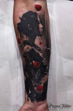 Nice japanese geisha with sword forearm tattoo