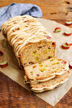 Cinnamon Rhubarb Bread with Brown-Butter Glaze from @farmgirlsdabble #pwfoodfriends